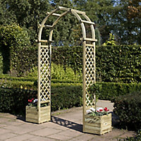 Rowlinson Round top Softwood Arch with Planters