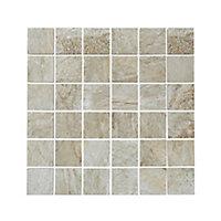 Shaded slate Beige Stone effect Porcelain Mosaic tile, (L)305mm (W)305mm