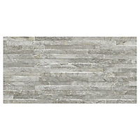 Shaded slate Grey Matt 3D decor Stone effect Porcelain Wall tile, Pack of 6, (L)600mm (W)300mm