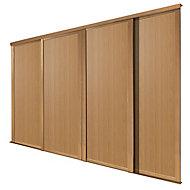 Shaker Natural oak effect 4 door Sliding Wardrobe Door kit (H)2223mm (W)610mm