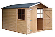 Shire Guernsey 10x7 Apex Shiplap Honey brown Wooden Shed (Base included)