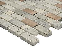 Shoreditch Grey Copper effect Natural stone Mosaic tile, (L)298mm (W)304mm