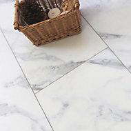 Showhome White Marble effect Luxury vinyl flooring tile, 2.16m² Pack