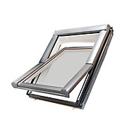 Site Premium Anthracite Aluminium alloy Centre pivot Roof window, (H)780mm (W)540mm