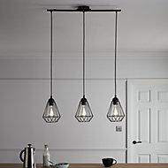Smertrio Matt Black 3 Lamp Pendant ceiling light, (Dia)790mm