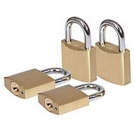 Smith & Locke Brass Cylinder Open shackle Padlock (W)40mm, Pack of 4