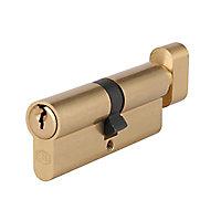 Smith & Locke Brass Single Euro Thumbturn Cylinder lock, (L)100mm (W)33mm