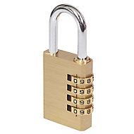 Smith & Locke Brass & Steel Open shackle Combination Padlock (W)40mm
