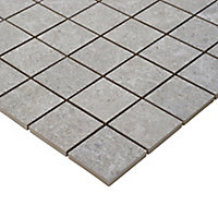 Soft lime stone Grey Stone effect Mosaic Porcelain Mosaic tile, (L)300mm (W)300mm