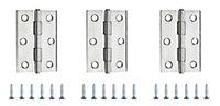 Stainless steel Butt Door hinge (L)75mm N169, Pack of 3