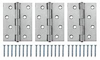 Stainless steel Butt Door hinge N432 (L)100mm, Pack of 3