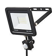 Stanley Black Mains-powered Cool white Outdoor LED PIR Floodlight 2400lm