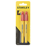 Stanley Red Fine tip Permanent Marker pen, Pack of 2