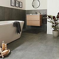 Structured Grey Matt Concrete effect Porcelain Floor tile, Pack of 6, (L)600mm (W)300mm