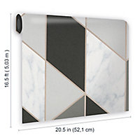 Sublime Marble Charcoal Geometric Metallic effect Smooth Wallpaper