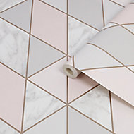 Sublime Marble Pink Geometric Metallic effect Smooth Wallpaper