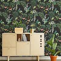 Superfresco Easy Adilah Black Leaves Smooth Wallpaper