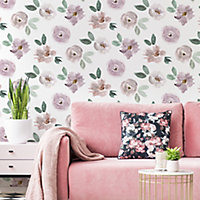 Superfresco Easy Cleo Pink & white Floral Smooth Wallpaper