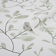 Superfresco Easy Eugenie Green & white Leaves Smooth Wallpaper