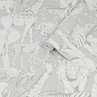 Superfresco Easy Grey Jungle animals Smooth Wallpaper