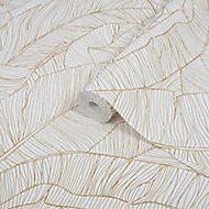 Superfresco Easy Kaya White Leaves Gold effect Smooth Wallpaper