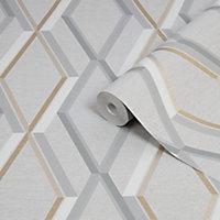 Superfresco Easy Prestige Grey Geometric Gold effect Smooth Wallpaper