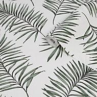 Superfresco Easy Scandi Green & white Leaves Smooth Wallpaper