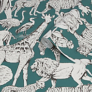 Superfresco Easy Teal Jungle animals Smooth Wallpaper