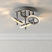 Symi Chrome effect Mains-powered 3 lamp Spotlight