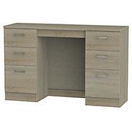 Tenby Dark oak effect 6 Drawer Desk (H)795mm (W)1275mm (D)415mm