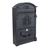 The House Nameplate Company Black Powder-coated Aluminium Post box, (H)410mm (W)255mm