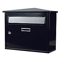 The House Nameplate Company Black Steel Post box, (H)330mm (W)400mm