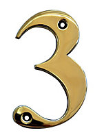 The House Nameplate Company Polished Brass House number 3, (H)100mm (W)65mm
