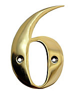 The House Nameplate Company Polished Brass House number 6, (H)100mm (W)65mm