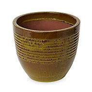 Tiwlip Green Ceramic Ribbed Plant pot (Dia)27cm