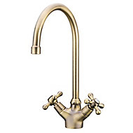Torc Antique brass effect Kitchen Twin lever Mixer tap