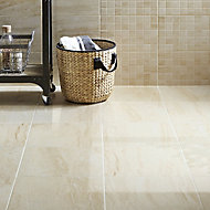 Travertina Beige Matt Stone effect Porcelain Floor tile of 9, (L)400mm (W)400mm