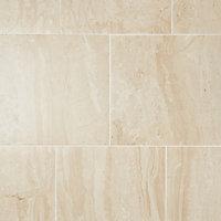 Travertina Beige Matt Stone effect Porcelain Wall & floor Tile, Pack of 9, (L)400mm (W)400mm