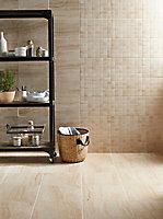 Travertina Light beige Gloss Flat Ceramic Indoor Wall Tile, Pack of 10, (L)402.4mm (W)251.6mm
