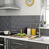 Trentie Anthracite Gloss Metro Ceramic Wall tile, Pack of 40, (L)200mm (W)100mm, Sample