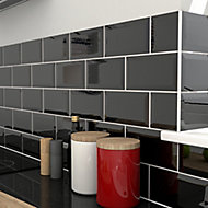 Trentie Black Gloss Metro Ceramic Tile, Pack of 40, (L)200mm (W)100mm