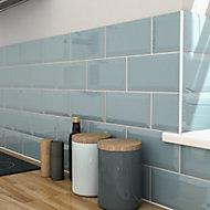 Trentie Blue Gloss Metro Ceramic Tile, Pack of 40, (L)200mm (W)100mm