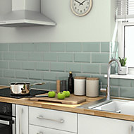 Trentie Green Gloss Metro Ceramic Tile, Pack of 40, (L)200mm (W)100mm