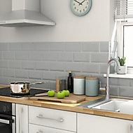 Trentie Grey Gloss Metro Ceramic Indoor Wall Tile, Pack of 40, (L)200mm (W)100mm