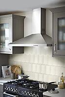 Trentie Ivory Gloss Metro Ceramic Tile, Pack of 40, (L)200mm (W)100mm