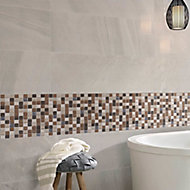 Triesto Beige & brown Glass effect Glass & natural stone Mosaic tile, (L)300mm (W)300mm