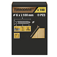 TurboDrive PZ Double-countersunk Yellow-passivated Steel Wood screw (Dia)6mm (L)100mm, Pack of 100