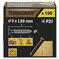 TurboDrive Yellow zinc-plated Steel Wood Screw (Dia)3mm (L)20mm, Pack of 100