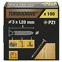 TurboDrive Yellow zinc-plated Steel Wood Screw (Dia)3mm (L)20mm, Pack of 100