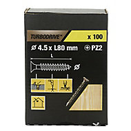 TurboDrive Yellow zinc-plated Steel Wood Screw (Dia)4.5mm (L)80mm, Pack of 100